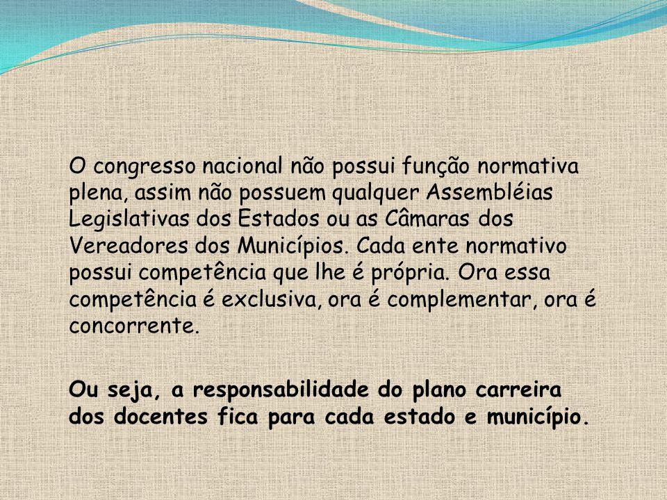 O congresso nacional não possui função normativa plena, assim não possuem qualquer Assembléias Legislativas dos Estados ou as Câmaras dos Vereadores dos Municípios.
