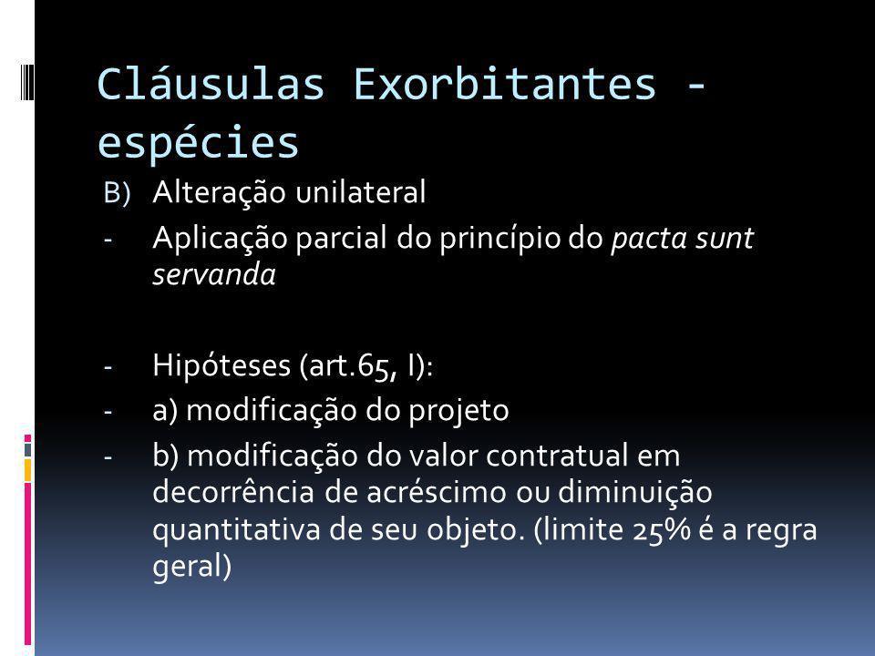 Cláusulas Exorbitantes - espécies