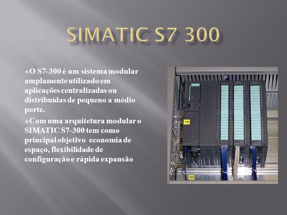 SIMATIC S7 300 O S7-300 é um sistema modular amplamente utilizado em aplicações centralizadas ou distribuídas de pequeno a médio porte.