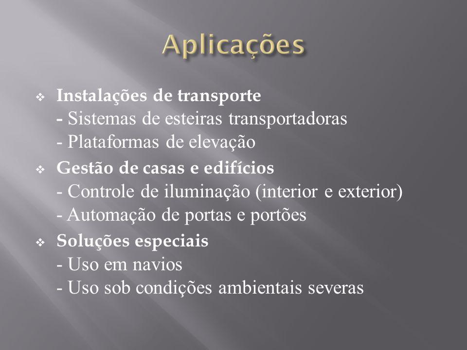 Aplicações Instalações de transporte - Sistemas de esteiras transportadoras - Plataformas de elevação.