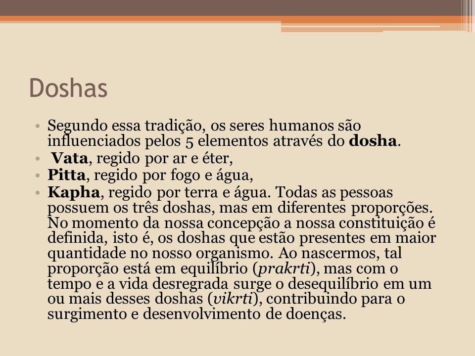 Doshas Segundo essa tradição, os seres humanos são influenciados pelos 5 elementos através do dosha.