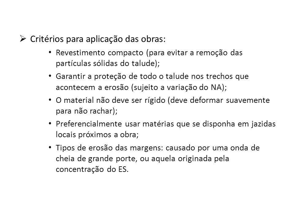 Critérios para aplicação das obras: