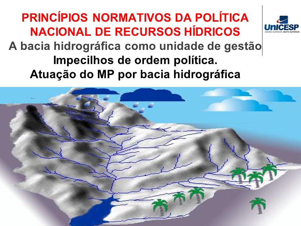 PRINCÍPIOS NORMATIVOS DA POLÍTICA NACIONAL DE RECURSOS HÍDRICOS A bacia hidrográfica como unidade de gestão Impecilhos de ordem política.