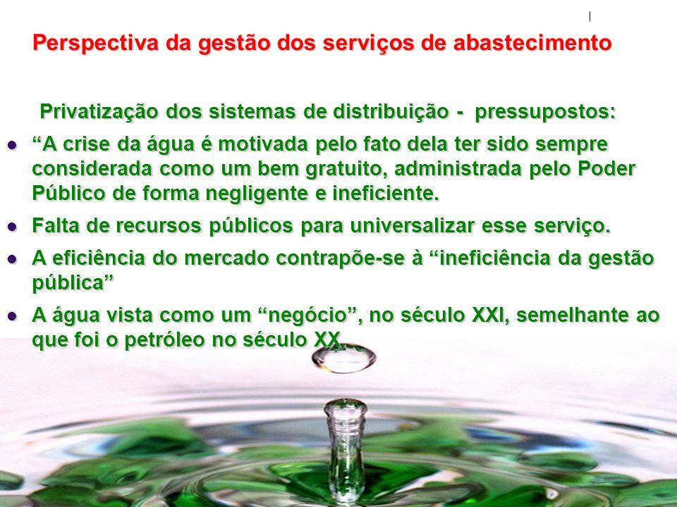 Perspectiva da gestão dos serviços de abastecimento