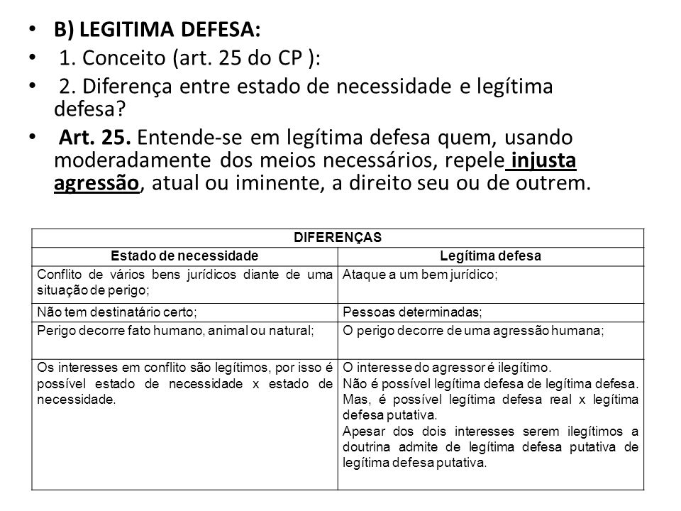 2. Diferença entre estado de necessidade e legítima defesa
