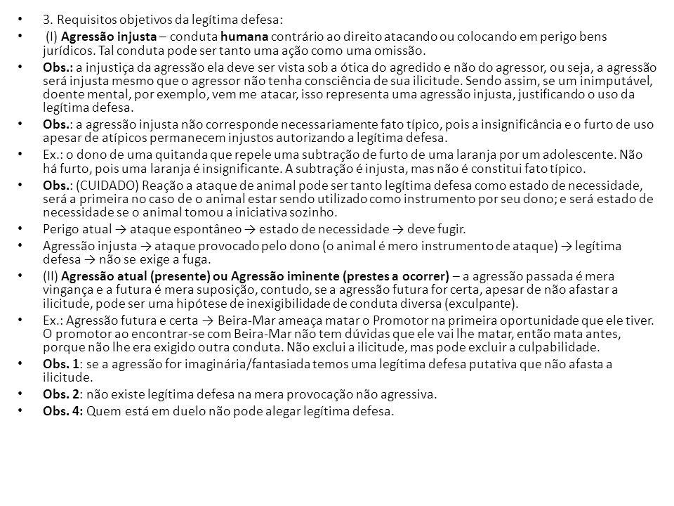 3. Requisitos objetivos da legítima defesa: