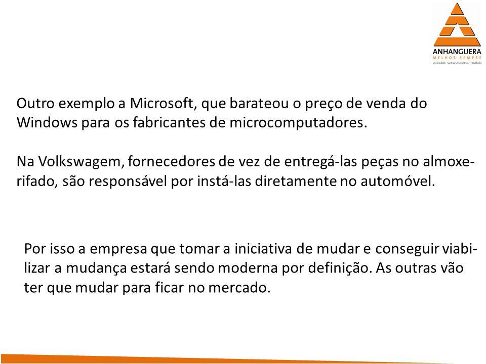 Outro exemplo a Microsoft, que barateou o preço de venda do
