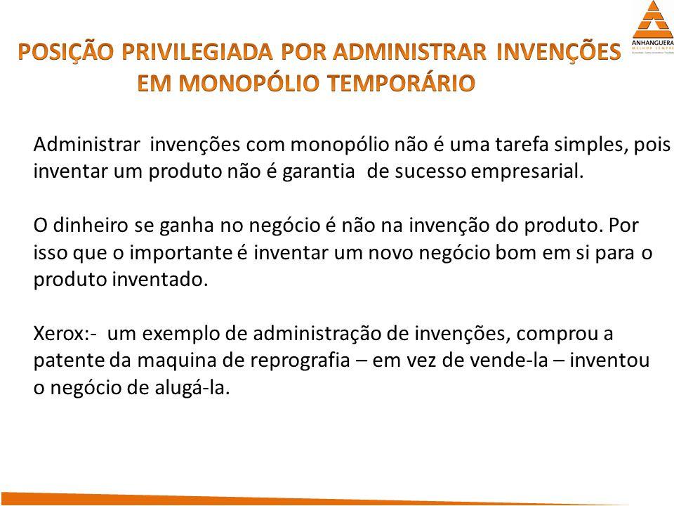 POSIÇÃO PRIVILEGIADA POR ADMINISTRAR INVENÇÕES EM MONOPÓLIO TEMPORÁRIO