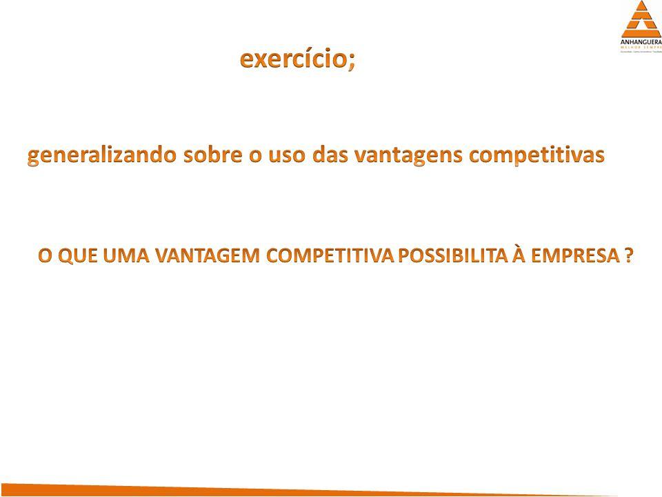 exercício; generalizando sobre o uso das vantagens competitivas