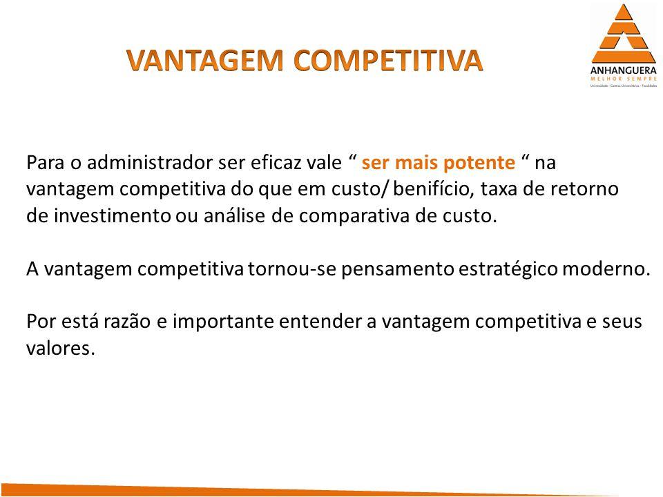 VANTAGEM COMPETITIVA Para o administrador ser eficaz vale ser mais potente na. vantagem competitiva do que em custo/ benifício, taxa de retorno.
