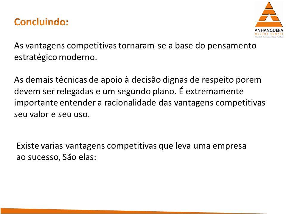 Concluindo: As vantagens competitivas tornaram-se a base do pensamento