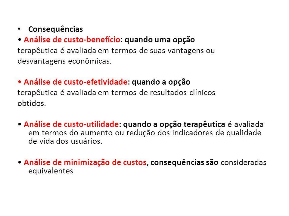 Consequências • Análise de custo-benefício: quando uma opção. terapêutica é avaliada em termos de suas vantagens ou.