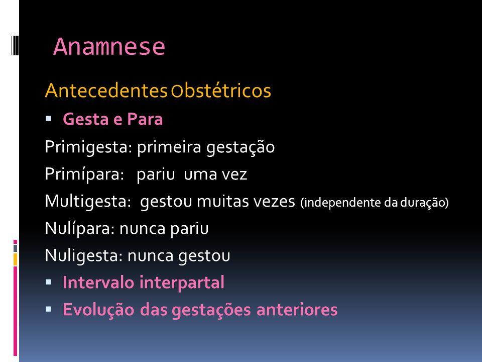 Anamnese Antecedentes Obstétricos Gesta e Para