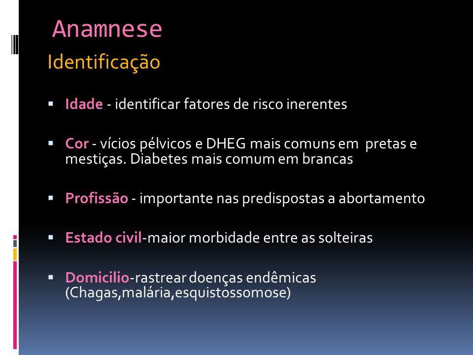 Anamnese Identificação Idade - identificar fatores de risco inerentes