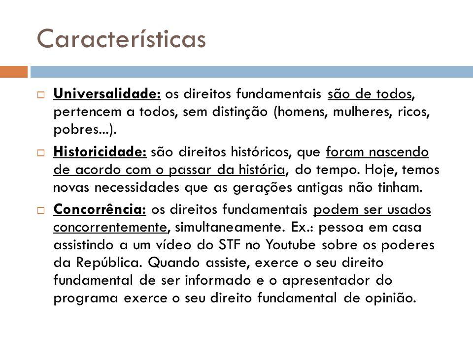 Características Universalidade: os direitos fundamentais são de todos, pertencem a todos, sem distinção (homens, mulheres, ricos, pobres...).