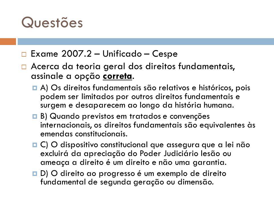 Questões Exame 2007.2 – Unificado – Cespe