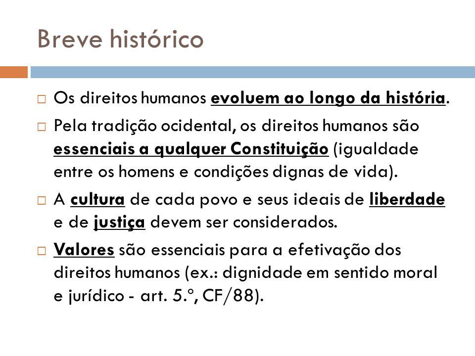 Breve histórico Os direitos humanos evoluem ao longo da história.