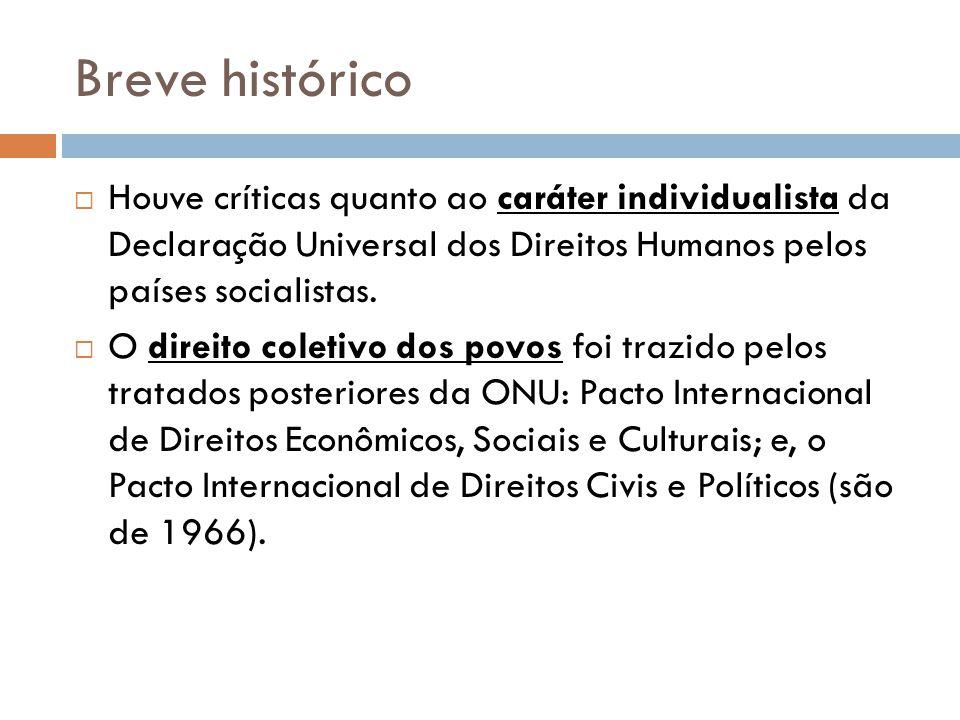Breve histórico Houve críticas quanto ao caráter individualista da Declaração Universal dos Direitos Humanos pelos países socialistas.