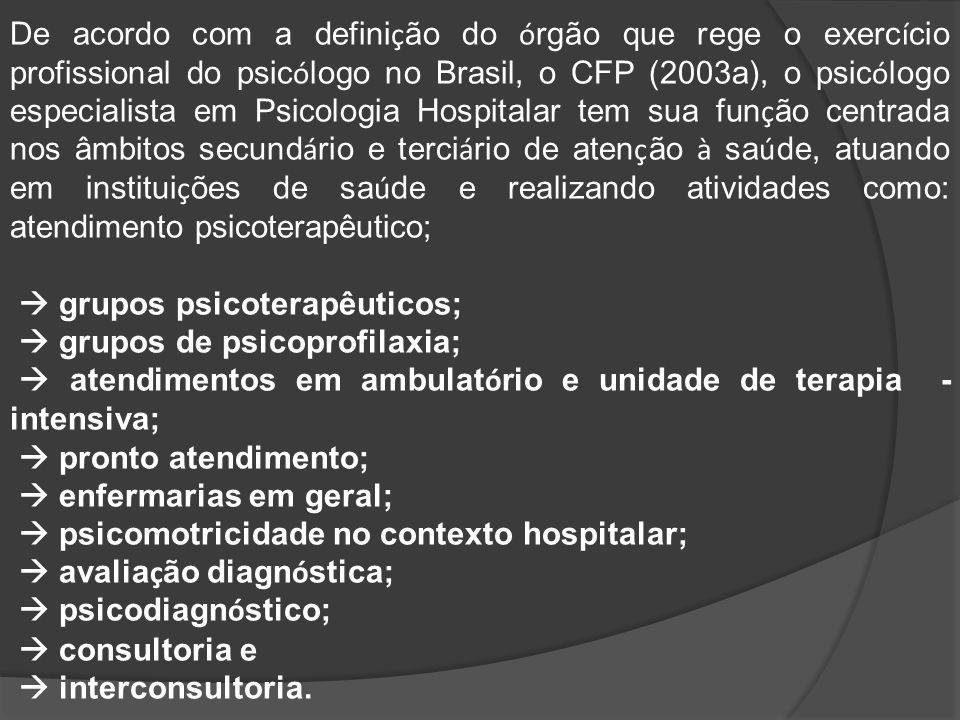 De acordo com a definição do órgão que rege o exercício profissional do psicólogo no Brasil, o CFP (2003a), o psicólogo especialista em Psicologia Hospitalar tem sua função centrada nos âmbitos secundário e terciário de atenção à saúde, atuando em instituições de saúde e realizando atividades como: atendimento psicoterapêutico;