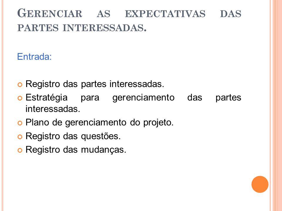 Gerenciar as expectativas das partes interessadas.