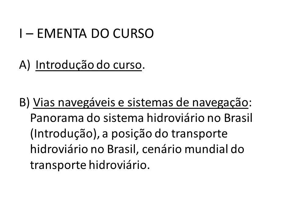 I – EMENTA DO CURSO Introdução do curso.