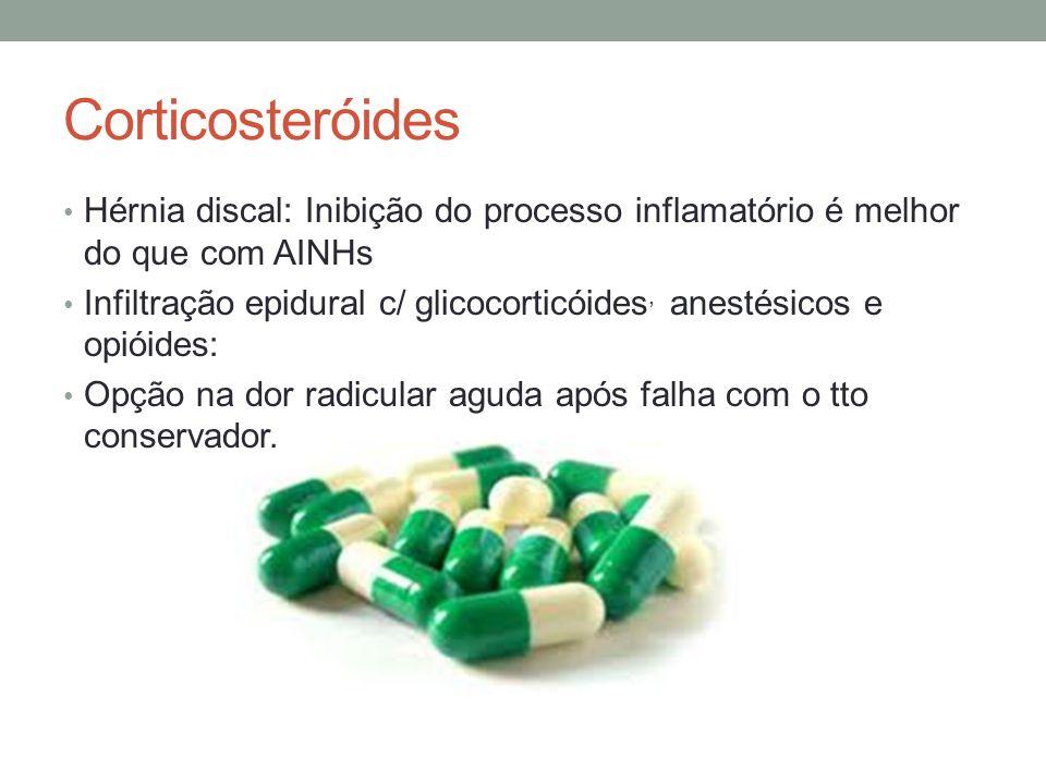 Corticosteróides Hérnia discal: Inibição do processo inflamatório é melhor do que com AINHs.