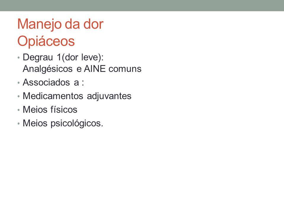 Manejo da dor Opiáceos Degrau 1(dor leve): Analgésicos e AINE comuns