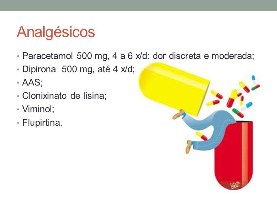 Analgésicos Paracetamol 500 mg, 4 a 6 x/d: dor discreta e moderada;