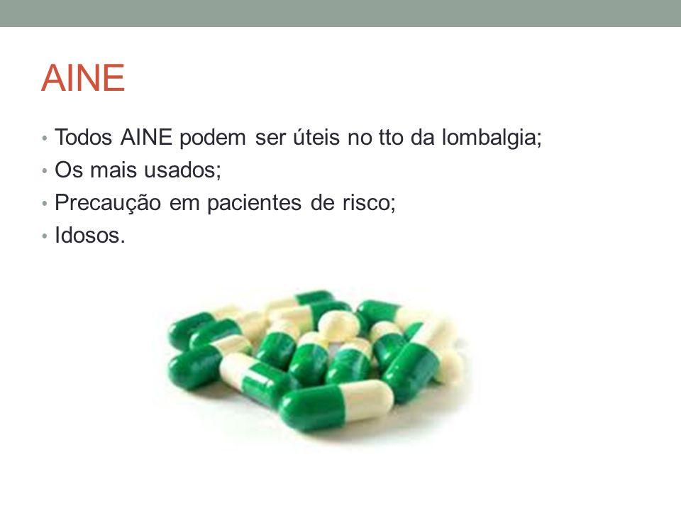 AINE Todos AINE podem ser úteis no tto da lombalgia; Os mais usados;