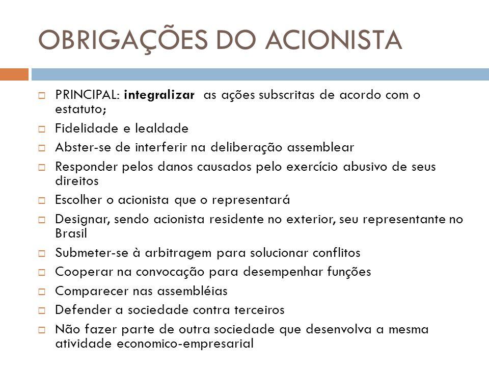 OBRIGAÇÕES DO ACIONISTA