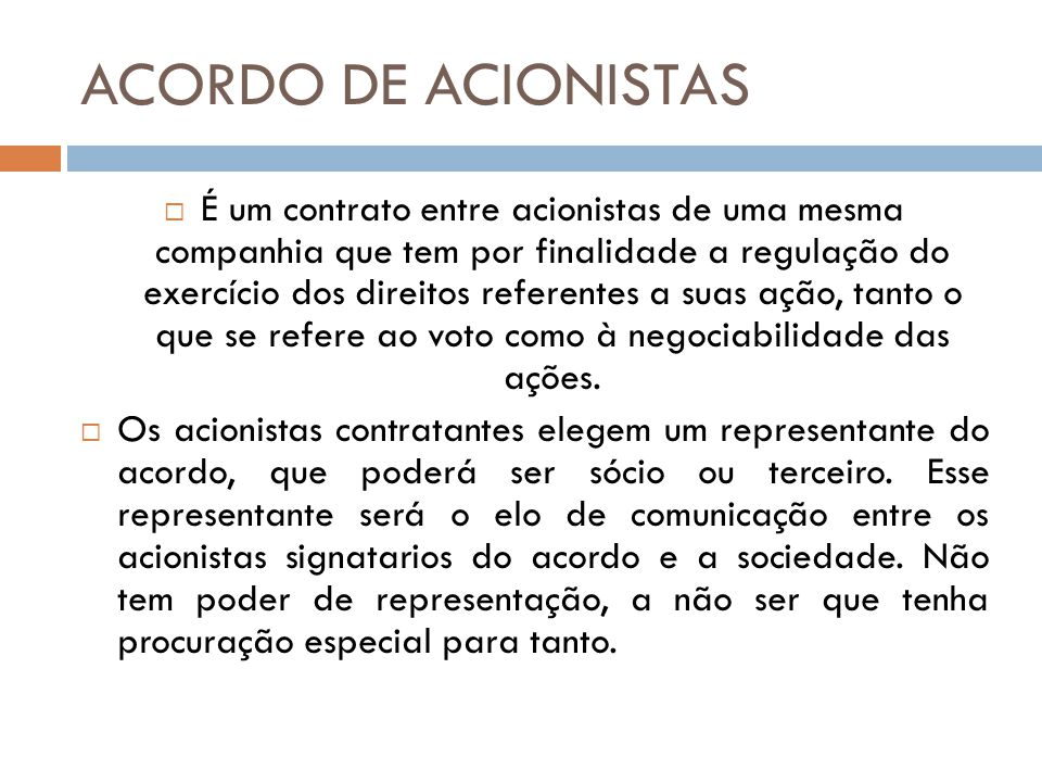 ACORDO DE ACIONISTAS