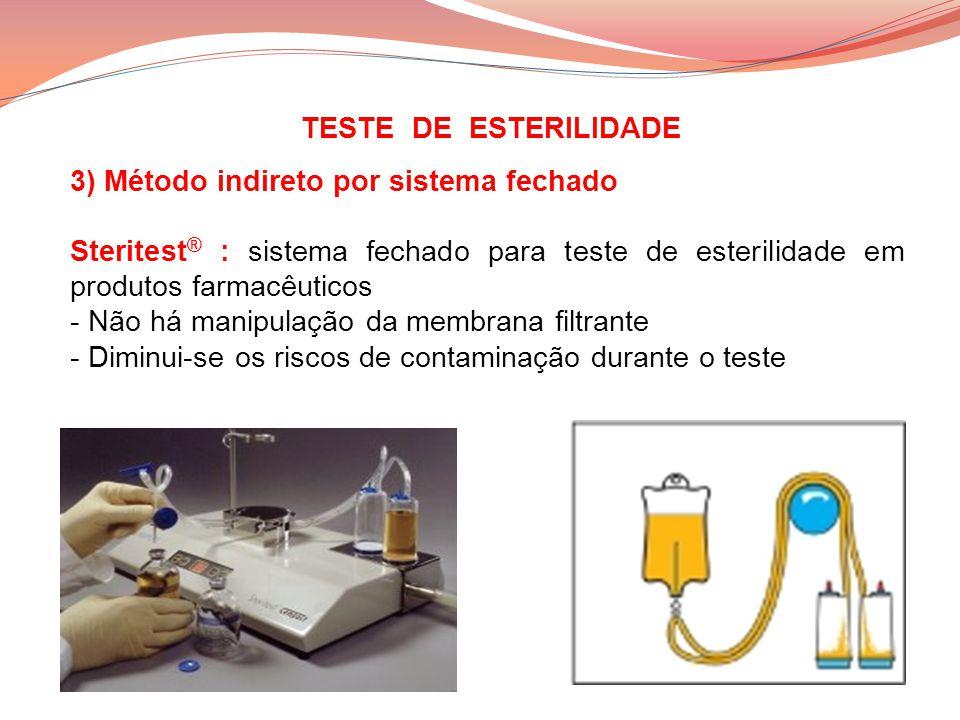 TESTE DE ESTERILIDADE 3) Método indireto por sistema fechado. Steritest® : sistema fechado para teste de esterilidade em produtos farmacêuticos.