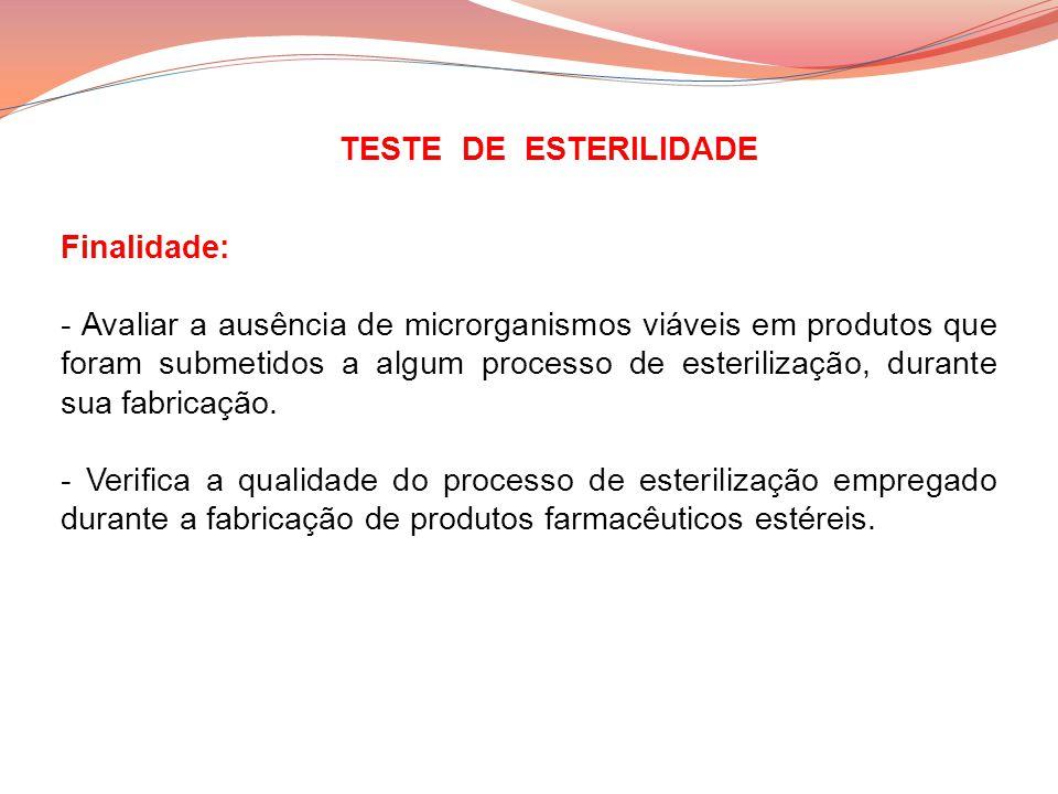 TESTE DE ESTERILIDADE Finalidade: