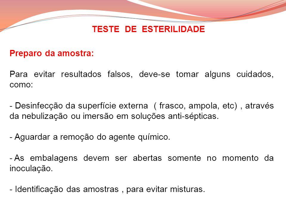 TESTE DE ESTERILIDADE Preparo da amostra: Para evitar resultados falsos, deve-se tomar alguns cuidados, como: