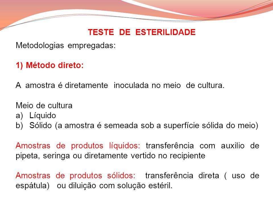 TESTE DE ESTERILIDADE Metodologias empregadas: Método direto: A amostra é diretamente inoculada no meio de cultura.