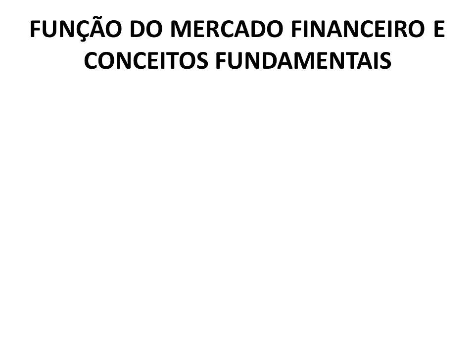 FUNÇÃO DO MERCADO FINANCEIRO E CONCEITOS FUNDAMENTAIS