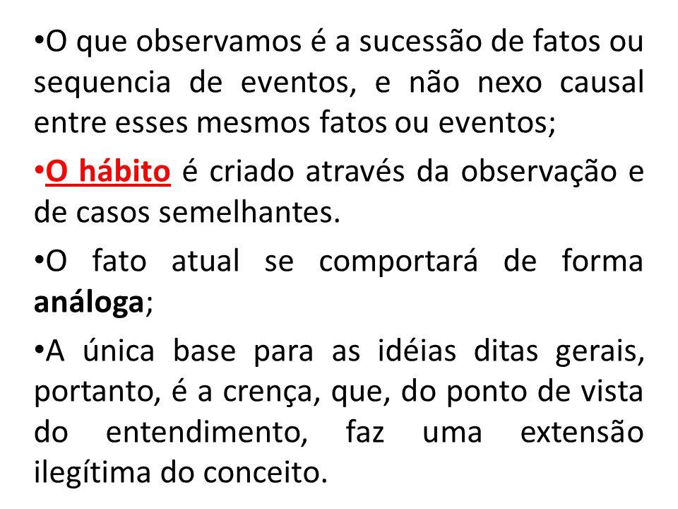 O que observamos é a sucessão de fatos ou sequencia de eventos, e não nexo causal entre esses mesmos fatos ou eventos;