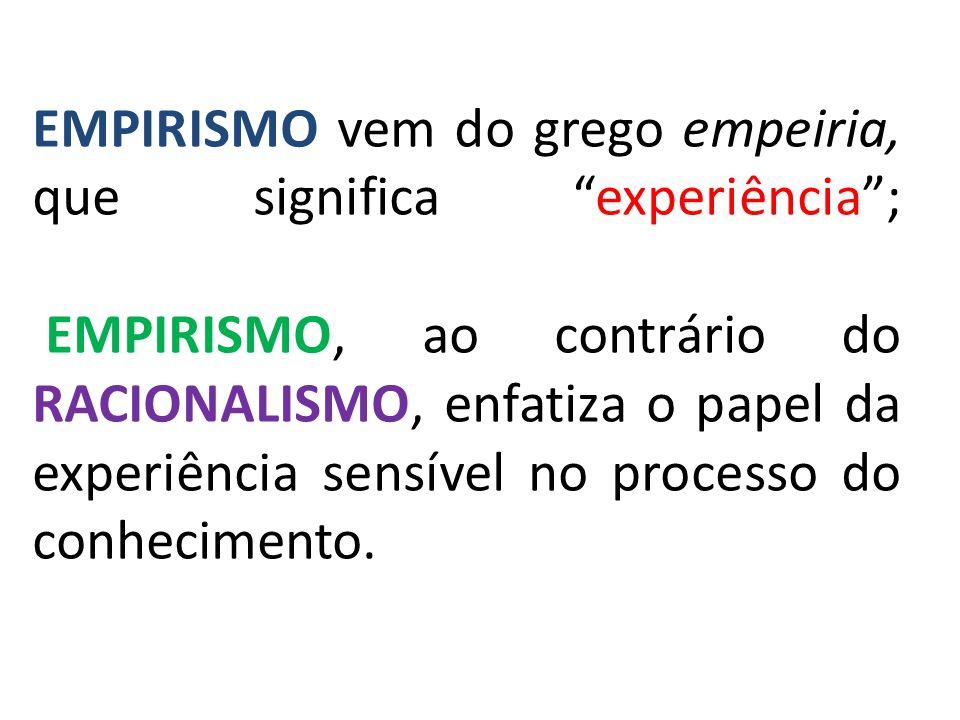 EMPIRISMO vem do grego empeiria, que significa experiência ; EMPIRISMO, ao contrário do RACIONALISMO, enfatiza o papel da experiência sensível no processo do conhecimento.