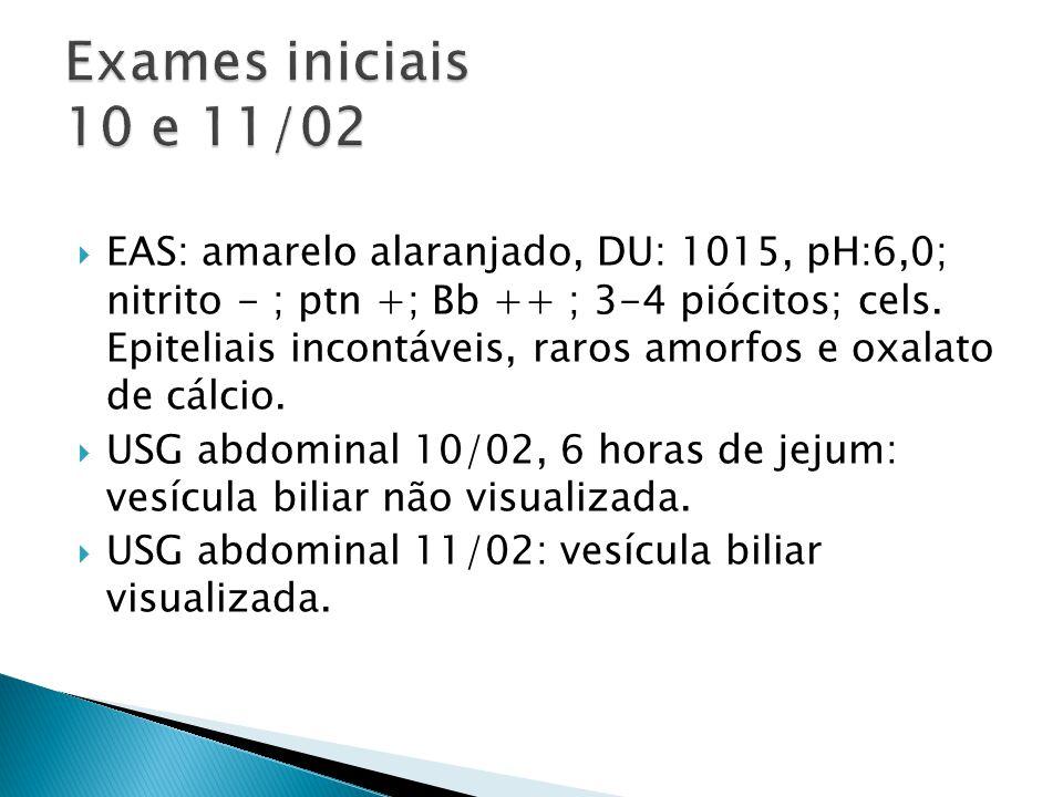 Exames iniciais 10 e 11/02