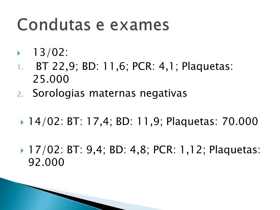 Condutas e exames 13/02: BT 22,9; BD: 11,6; PCR: 4,1; Plaquetas: 25.000. Sorologias maternas negativas.