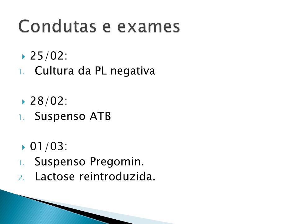 Condutas e exames 25/02: Cultura da PL negativa 28/02: Suspenso ATB