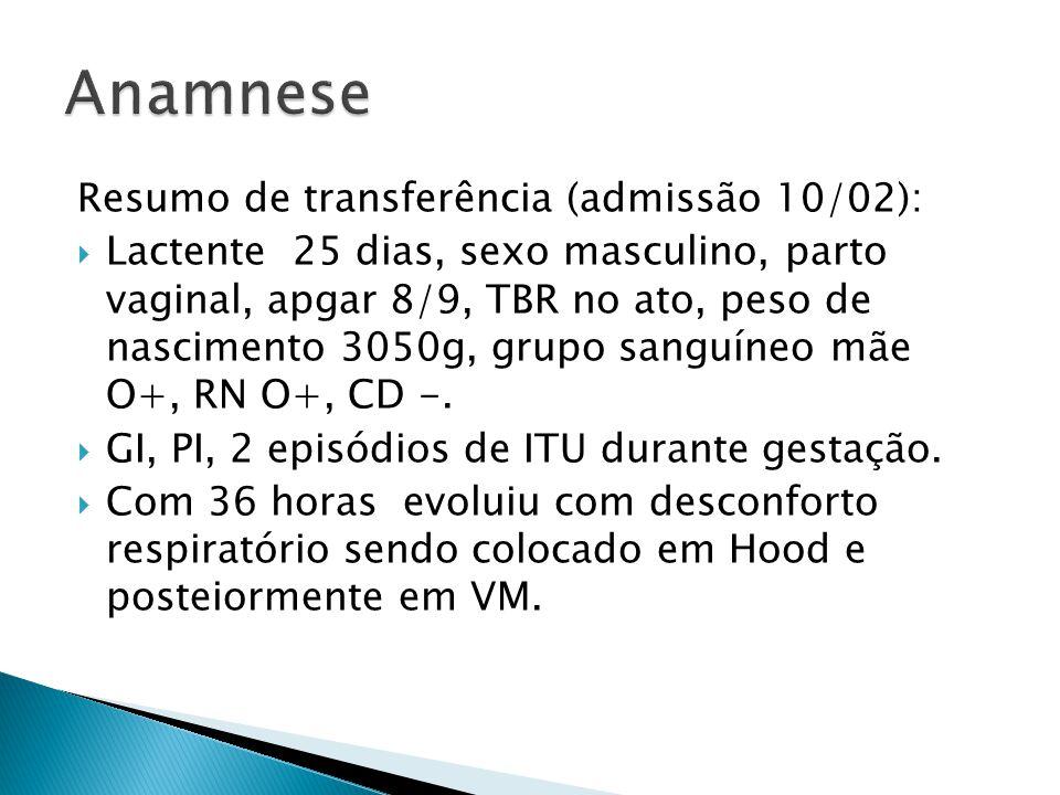 Anamnese Resumo de transferência (admissão 10/02):