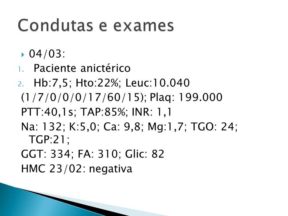 Condutas e exames 04/03: Paciente anictérico