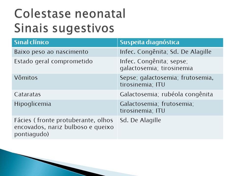 Colestase neonatal Sinais sugestivos