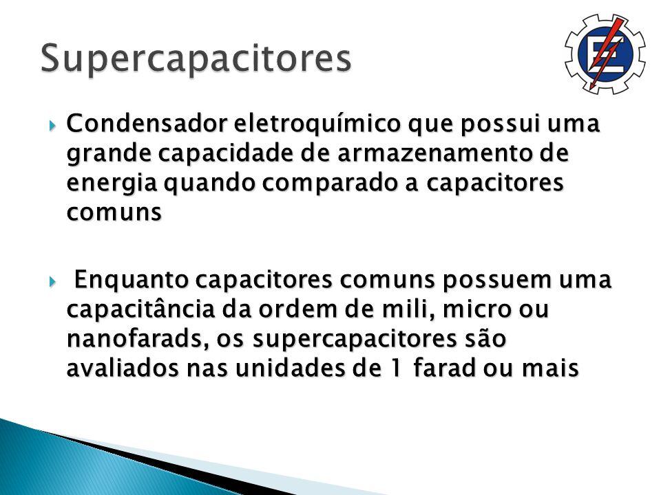 Supercapacitores Condensador eletroquímico que possui uma grande capacidade de armazenamento de energia quando comparado a capacitores comuns.