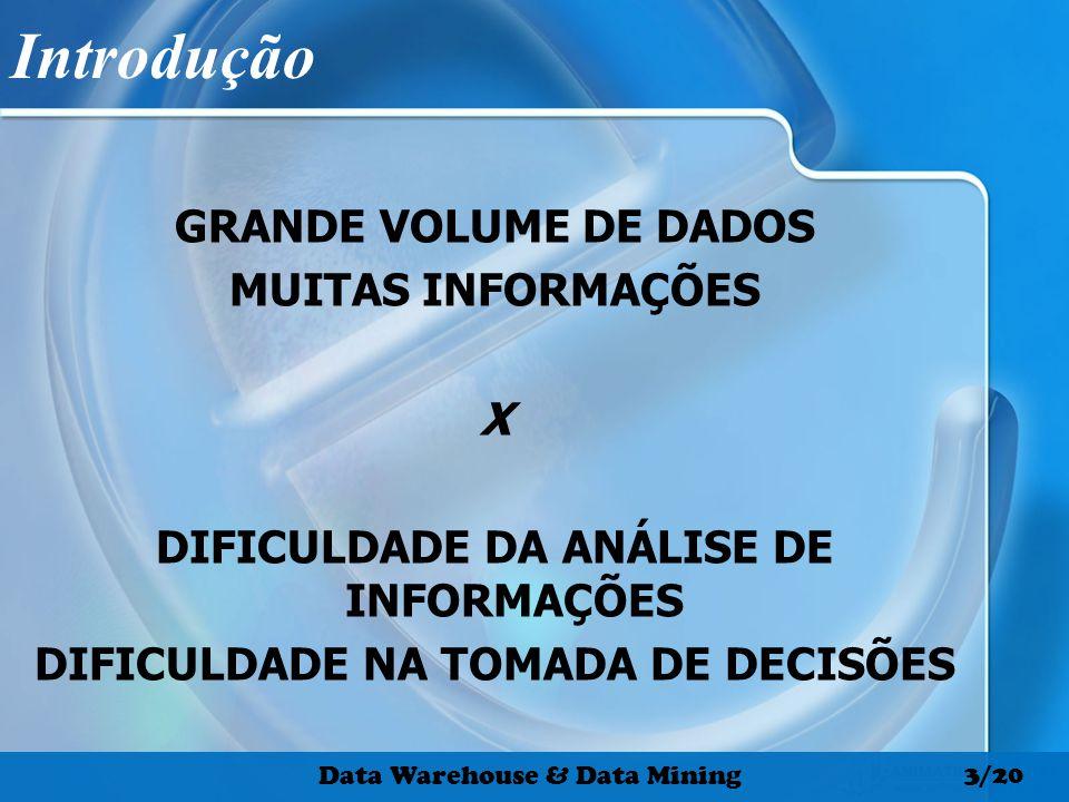 Introdução GRANDE VOLUME DE DADOS MUITAS INFORMAÇÕES X