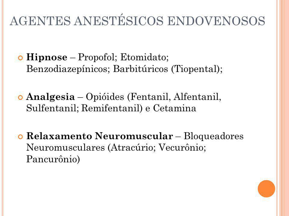 AGENTES ANESTÉSICOS ENDOVENOSOS