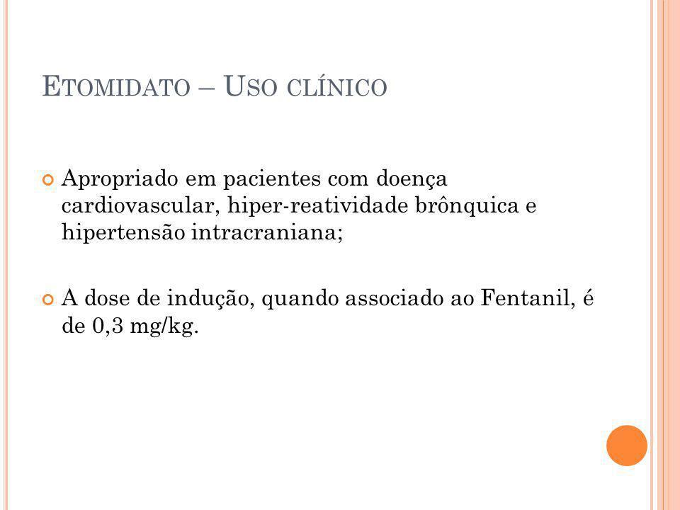 Etomidato – Uso clínico