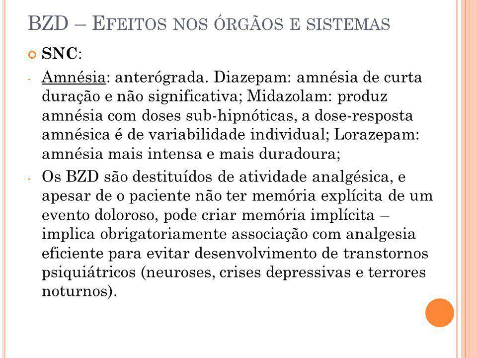 BZD – Efeitos nos órgãos e sistemas