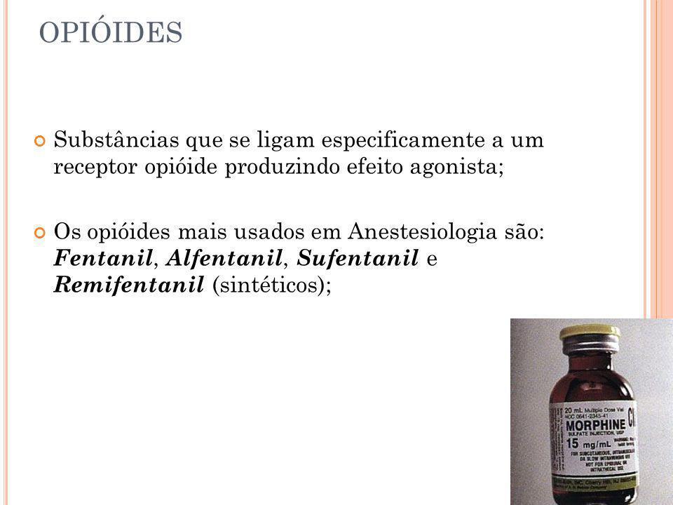 OPIÓIDES Substâncias que se ligam especificamente a um receptor opióide produzindo efeito agonista;